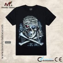 Y-100203 Cráneo del tatuaje - camiseta luminosa del tatuaje resplandece en la obscuridad