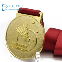 Wholesale china personalized custom metal brass embossed 3d world championship 1st place sport badminton medal