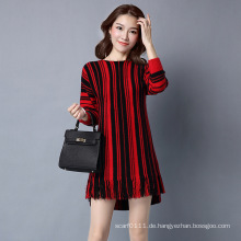 Lady Fashion Striped Viskose Knnted Winter Fringe Pullover Pullover (YKY2062)