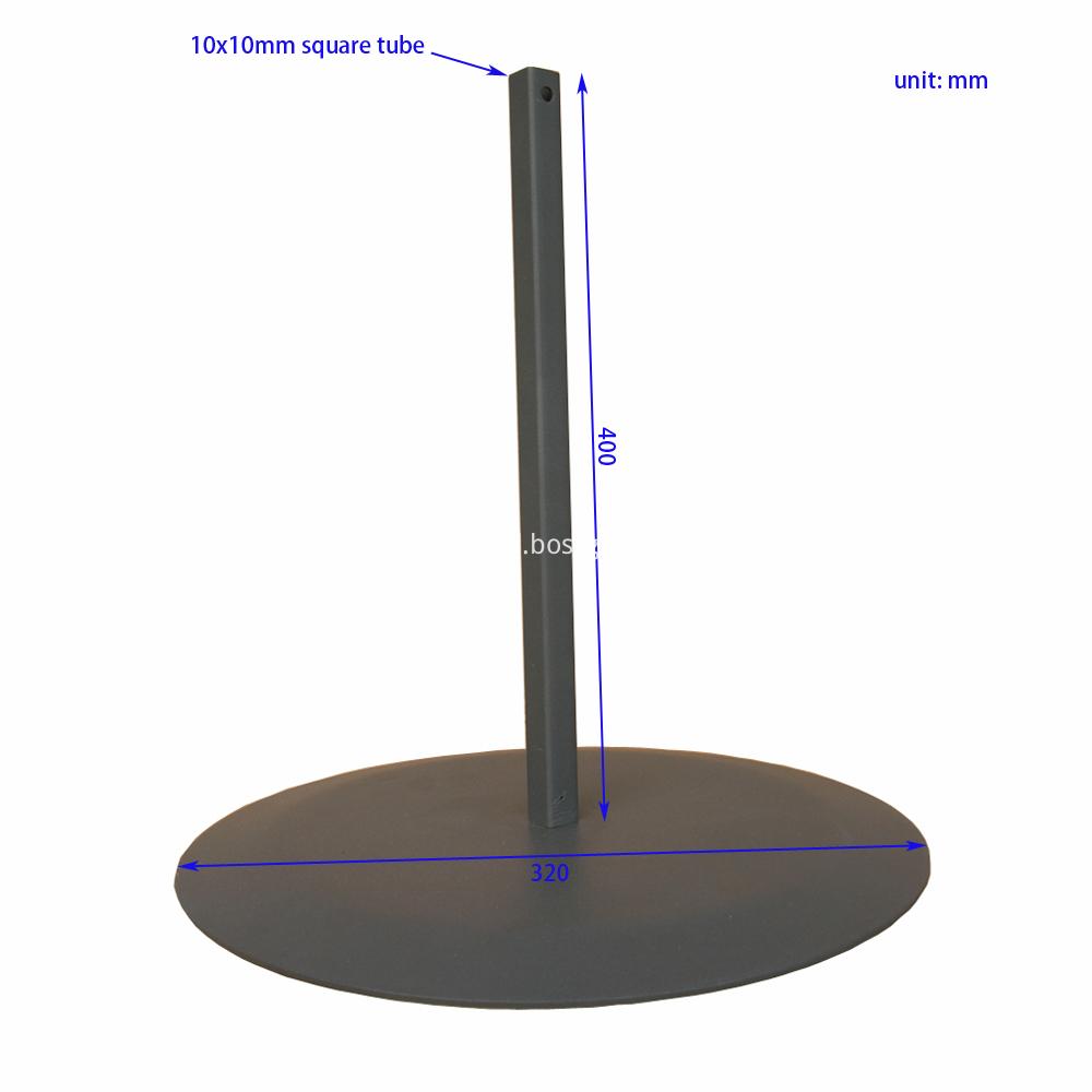 SSFT0007 Square Tube Stem Sign Banner Pedestal Base Dimension