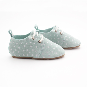 Percetakan White Dots Blue Kids Oxford Shoes