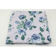 high quality custom rose flower pattern printed  big square scarf fringe on four side super soft hand feeling