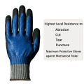 Nitrile palm coated Puncture resistant anti cutting glove