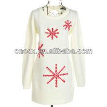 13STC5477 entalhe camisola floco de neve bordado natal pullover