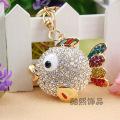 super cute cartoon fish crystal Keychain key pendant ladies bag accessories rhinestone metal key ring gold plated jewelry