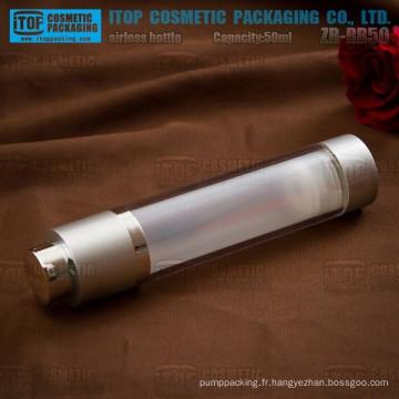 ZB-RB50 50ml clair bouteilles de pompe lotion airless rotatif en plastique double couches