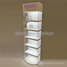 Led Lighting 6-Layer Fibre Glass Showcase Flooring Maquiagem Cosmetic Store Prateleira para venda