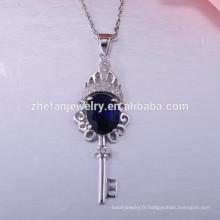 Nouvelle mode 925 collier en argent sterling collier pendentif clé