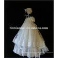 Ocasião especial do batismo do bebê 3 camadas rendas princesa vestido de aniversário para o bebê menina