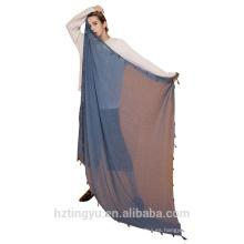 Tingyu Factory almacenó 140 * 140 cm de gran tamaño grande robusta cuadrado de algodón borlas hijab bufanda chal llanura