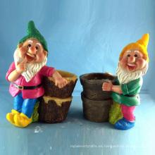 Jardín Decorativo Gnome Decoración Polyresin enano Flowerpot