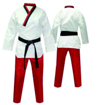 colorful red taekwondo uniform