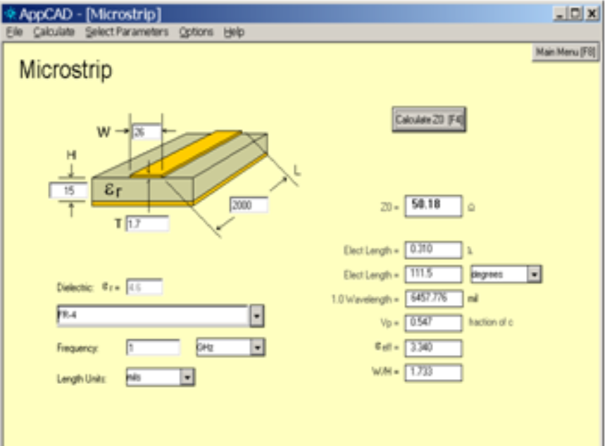 Microstrip calculator