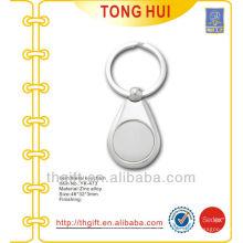 Plated Silber Finish Münze Schlüsselhalter Metall leer
