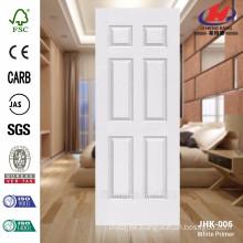 JHK-006 New Design 6 panels beautiful interior wood grain white primer molded door skin
