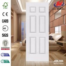 JHK-006 Новый дизайн 6 панелей красивый интерьер деревянная текстура белая грунтовка формованная кожа двери