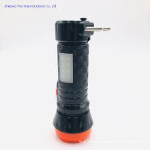 LED Plastic Rechargeable Torch Flashlight with Side COB LED