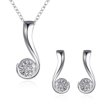 Fashion Jewelry Set Question Mark Zircon Pendant Silver Plated Sets