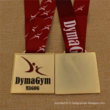 Médaille de gymnastique d'or de qualité supérieure faite sur commande avec la lanière de sublimation