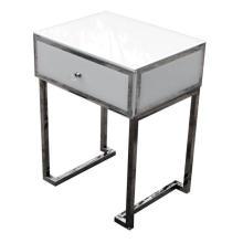 1 Drawer Bedside White Glass Metal Frame