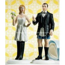 Figurilla divertida de la tapa del pastel de bodas de la novia