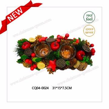 Novo design de Natal Pine and Cherry Candle Holder Wreath Jewelry