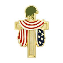 Wholesale custom logo metal enamel badge religious cross pin