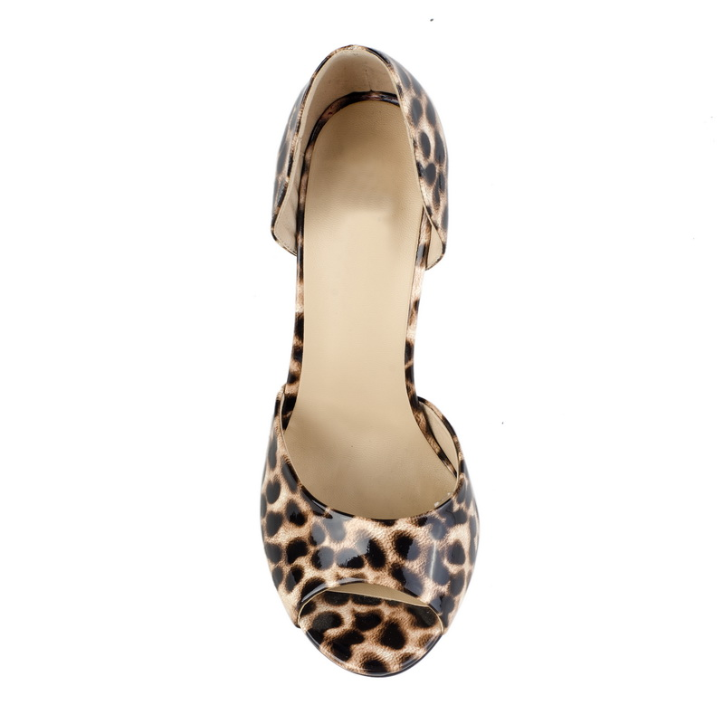 leopard print peep toe mature women shoes