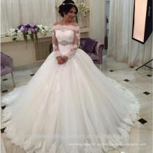 Arabia Saudita Robe de mariage Vestidos de boda de lujo de la manga larga Vestido de bola de la novia del cordón más tamaño VESTIDO DE BODA