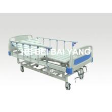 (A-42) Lit d'hôpital manuel à trois fonctions mobile avec tête de lit ABS