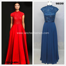 Blue Evening High Collar Lace Prom Dress