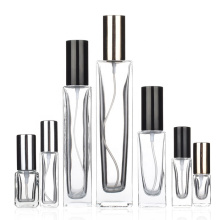 Empty Refillable 100ml square perfume glass spray bottle with pump