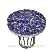 CANOSA Blue-veins mesa de café de pedra com fita de aço inoxidável