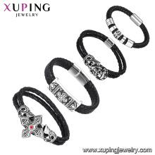 Pulsera de los hombres de cuero baratos de moda de bracelet-21-xuping, 2017 Trending Products Jewelry Bracelet de acero inoxidable