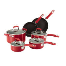 Amazon Vendor 10-Piece Nonstick Cookware Set Red Silicone Handle