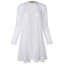 Kate Kasin Long Sleeve Open Front See-Through White Lace Coat Tops Bolero KK000421-2