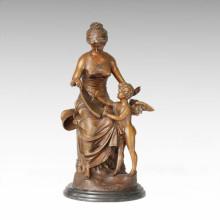 Estatua clásica Amor Educación Escultura de bronce TPE-227