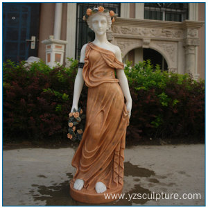 Multi Color Life Size Marble Girl Statue