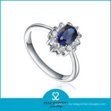 Anillo de piedras preciosas de zafiro azul de moda