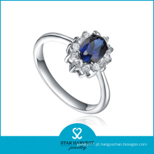 Moda azul safira anel de pedras naturais