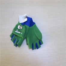 children's cut finger carton fleece gloves with the flap cover