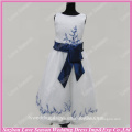 RP0096 Factory made blue embroider beaded organza ball gown satin sash new girl formal party dress real sample flower girl dress