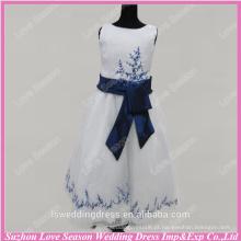 RP0096 Fábrica feita de bordado azul bordado de organza vestido de bola cetim de seda nova menina vestido de festa formal vestido de menina de flor de amostra real