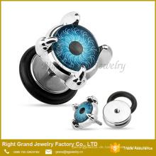 316l chirurgischer Stahl 10mm Augapfel Auge Logo Gefälschte Cheater Plug Ohrringe