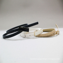 hot sale leather emboss ladies skinny pu belt