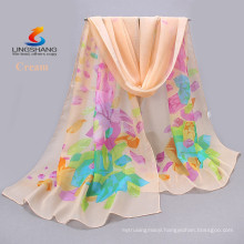 Lingshang wholesale new design fashion style girl dress digital printing silk scarf