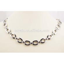 Moda jóias simples aço cirúrgico de cadeia longa colar de prata