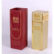 Boîte en carton de cadeau de verre de Champagne avec le sac de bouteille de vin de poignée