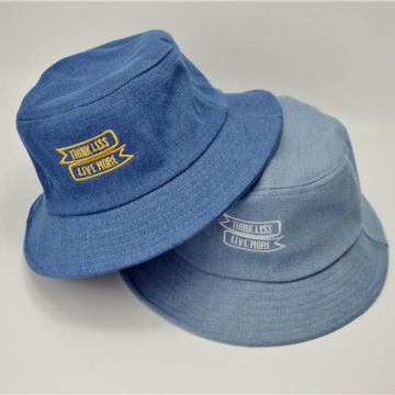Plain Denim Flat Embroidered Bucket Hat