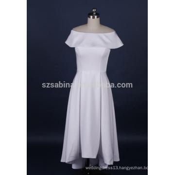 2017 cheap stylish satin white bridesmaid dress with real photos